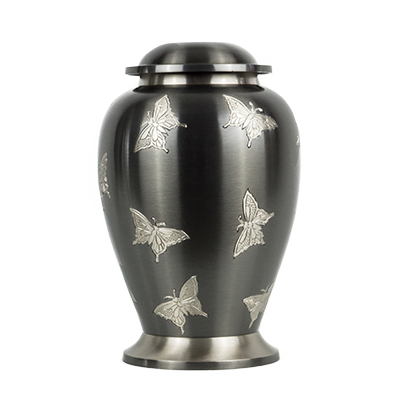 Dark gray butterfly urn
