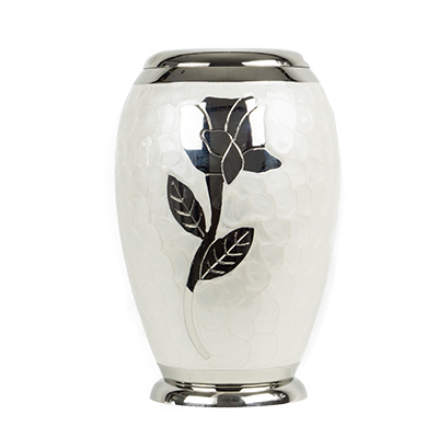 White marble memory urn